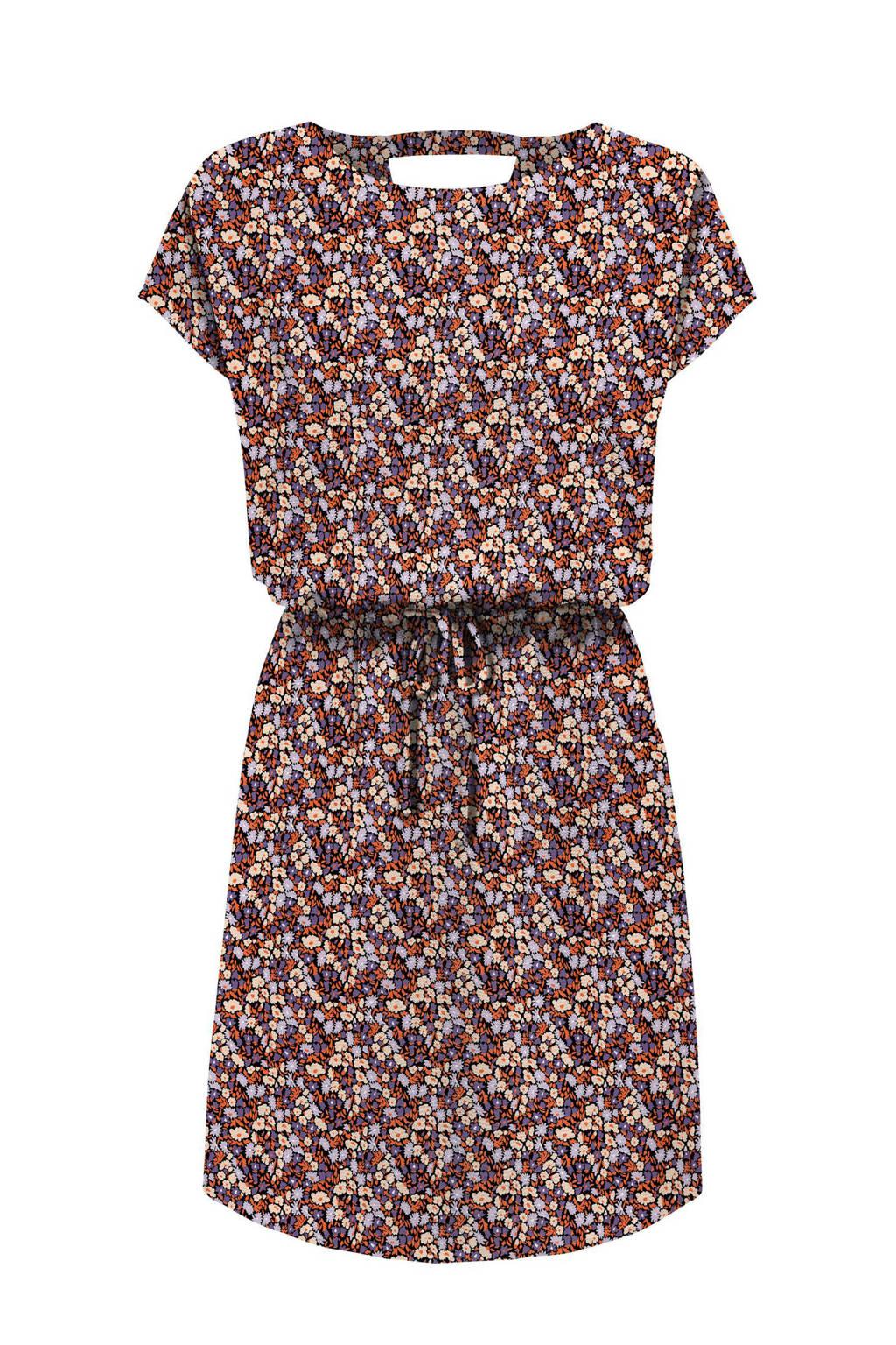 ONLY jurk ONLNOVA met all over print en open detail rood/paars/ecru, Rood/paars/ecru