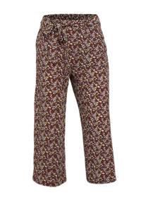 ONLY gebloemde cropped wide leg palazzo broek ONLNOVA rood/paars/ecru, Rood/paars/ecru