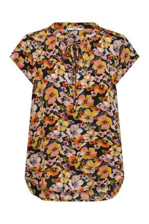 gebloemde top ONLALMA  van gerecycled polyester zwart/oranje/geel/groen/roze/blauw