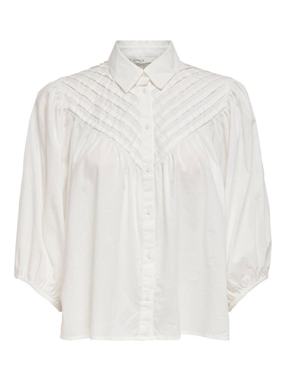 ONLY blouse ONLKARLA met plooien ecru, Ecru