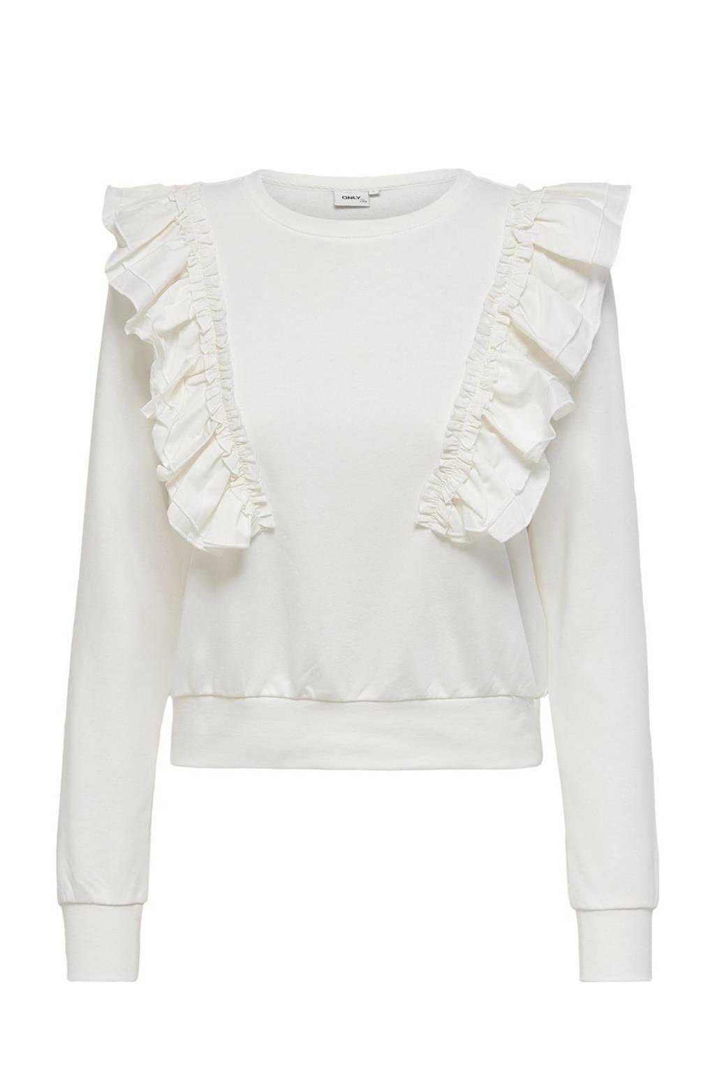ONLY sweater ONLEMILIA van biologisch katoen ecru, Ecru