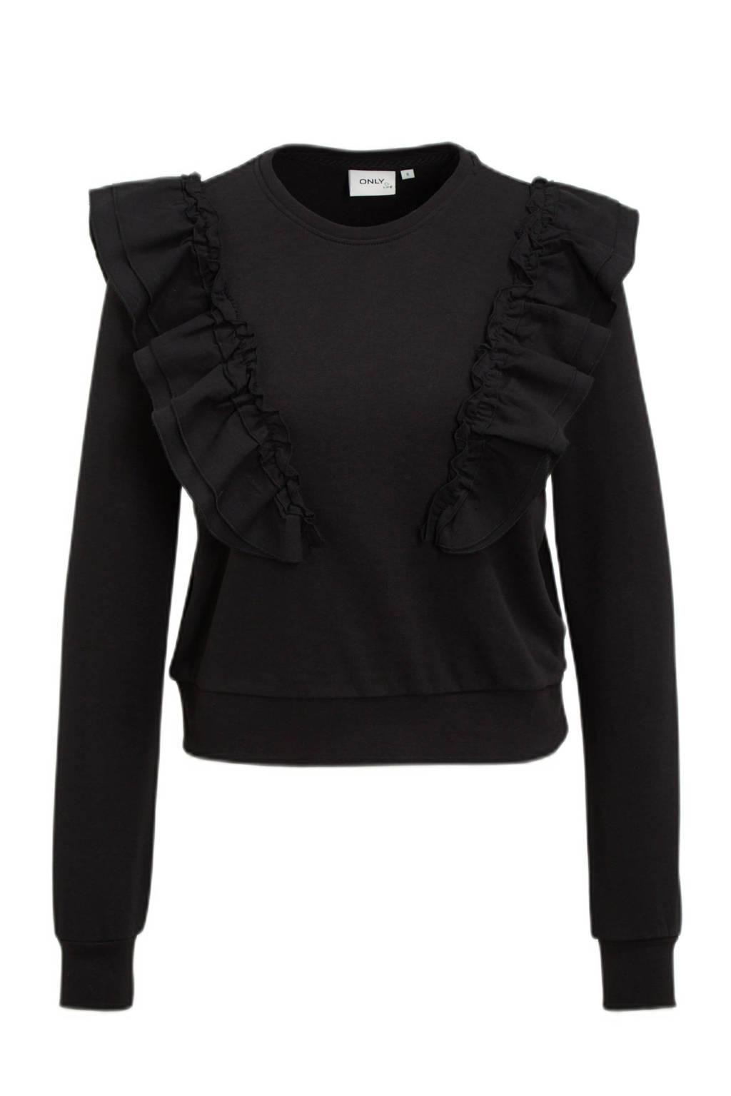 ONLY sweater ONLEMILIA met volant zwart, Zwart