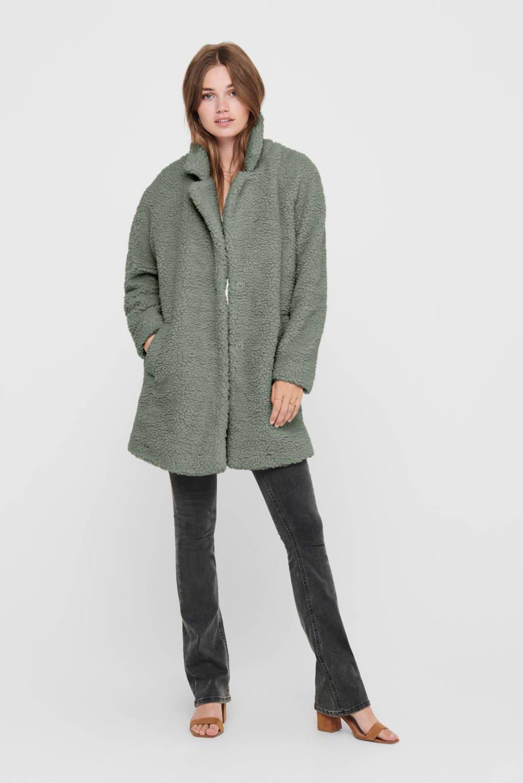 ONLY teddy coat ONLAURELIA groen, Groen