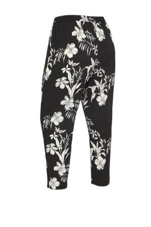 gebloemde wide leg pantalon CARLUXINA  zwart/wit
