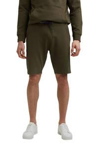 edc Men regular fit sweatshort van biologisch katoen donker kaki, Donker kaki