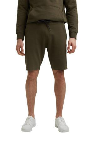 regular fit sweatshort van biologisch katoen donker kaki