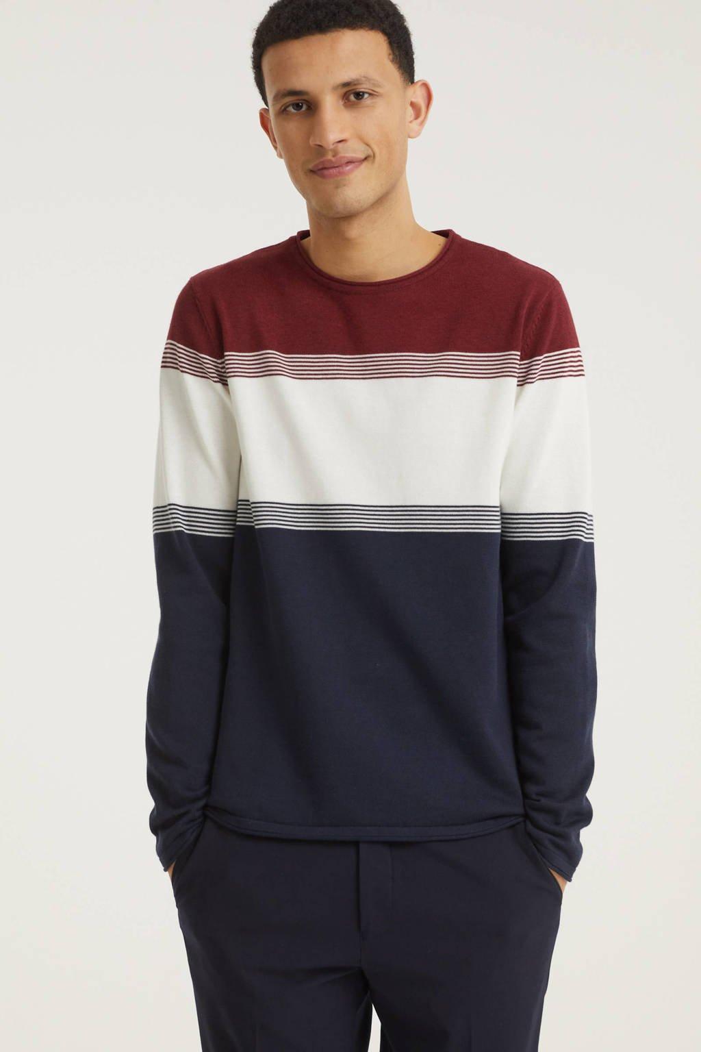 edc Men trui van biologisch katoen rood/wit/blauw, Rood/wit/blauw