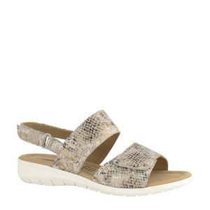 comfort leren sandalen met slangenprint beige