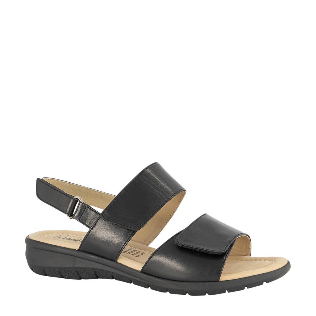 Medicus  comfort leren sandalen zwart, Zwart