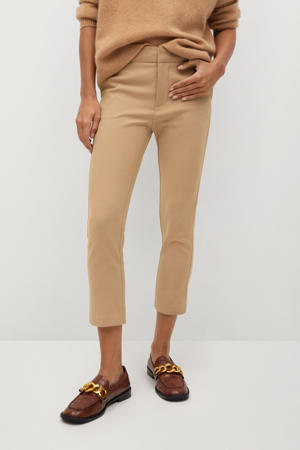 cropped slim fit pantalon beige