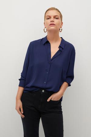 blouse van gerecycled polyester marine