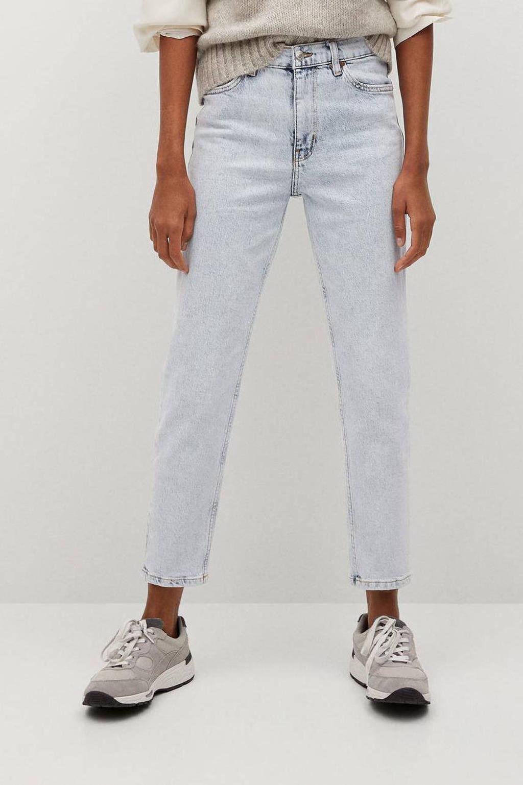 Mango cropped high waist mom jeans light blue, Light Blue