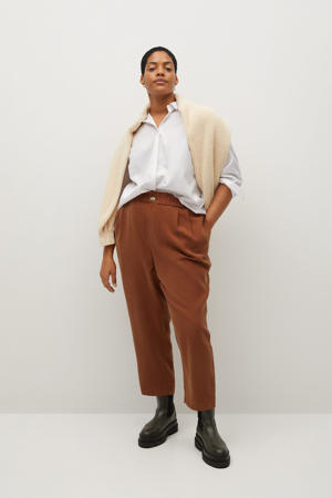 cropped straight fit broek camel