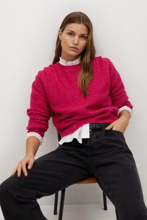 gemêleerde gebreide trui met wol fuchsia