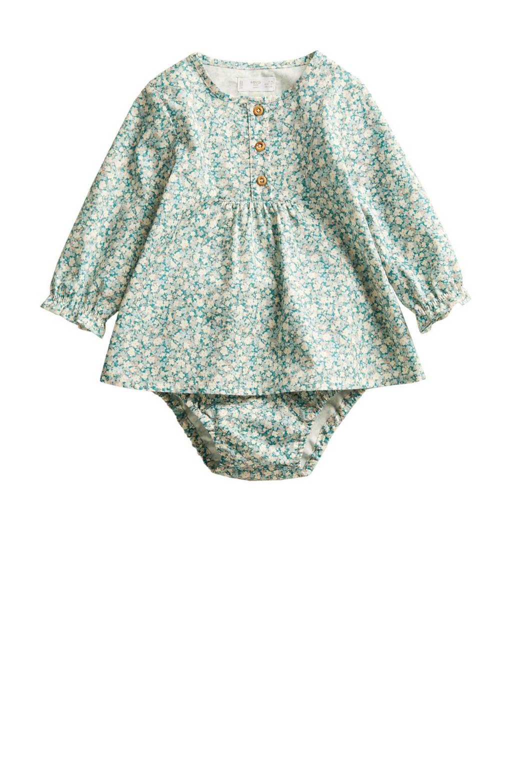 Mango Kids newborn baby jurk met broekje groen/ecru, Groen/ecru