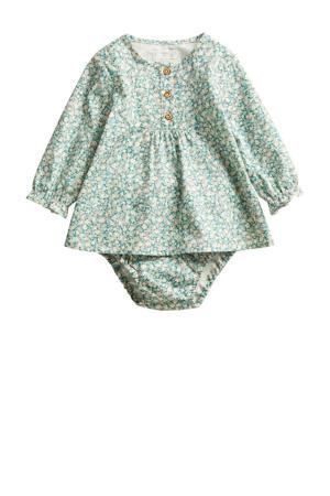 newborn baby jurk met broekje groen/ecru