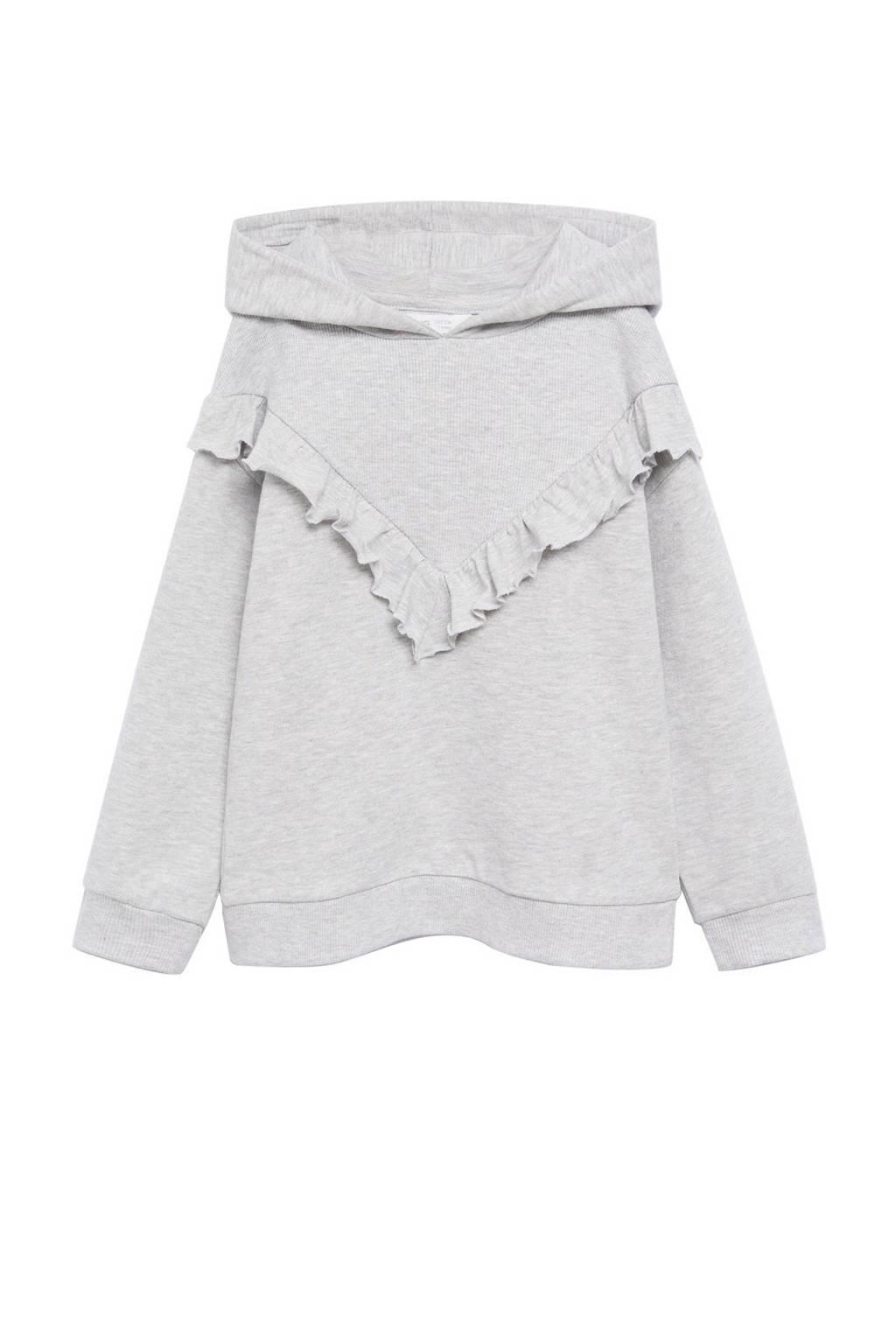 Mango Kids gemêleerde hoodie pastelgrijs