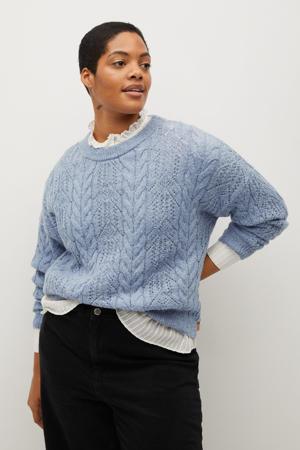 trui van gerecycled polyester lichtblauw