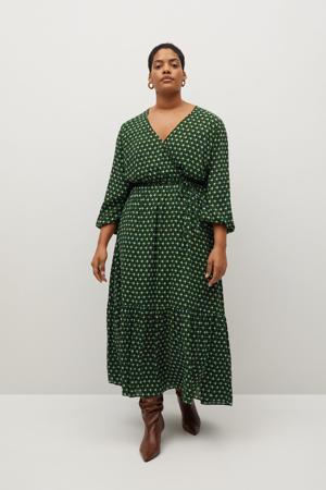 jurk met all over print en volant groen