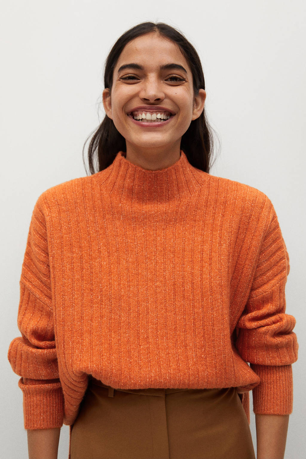 Mango gemêleerde ribgebreide trui met wol oranje, Oranje