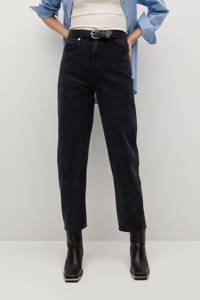 Mango cropped high waist mom jeans black, Black