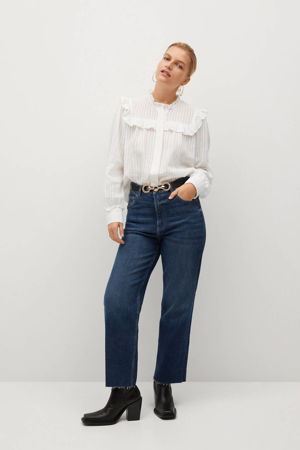 Violeta by Mango blouse met ruches wit, Wit