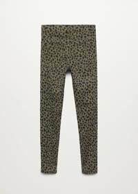 Mango Kids high waist skinny broek met panterprint khakigroen, Khakigroen