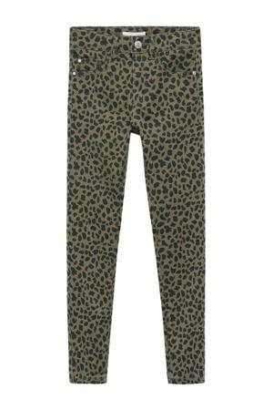 high waist skinny broek met panterprint khakigroen