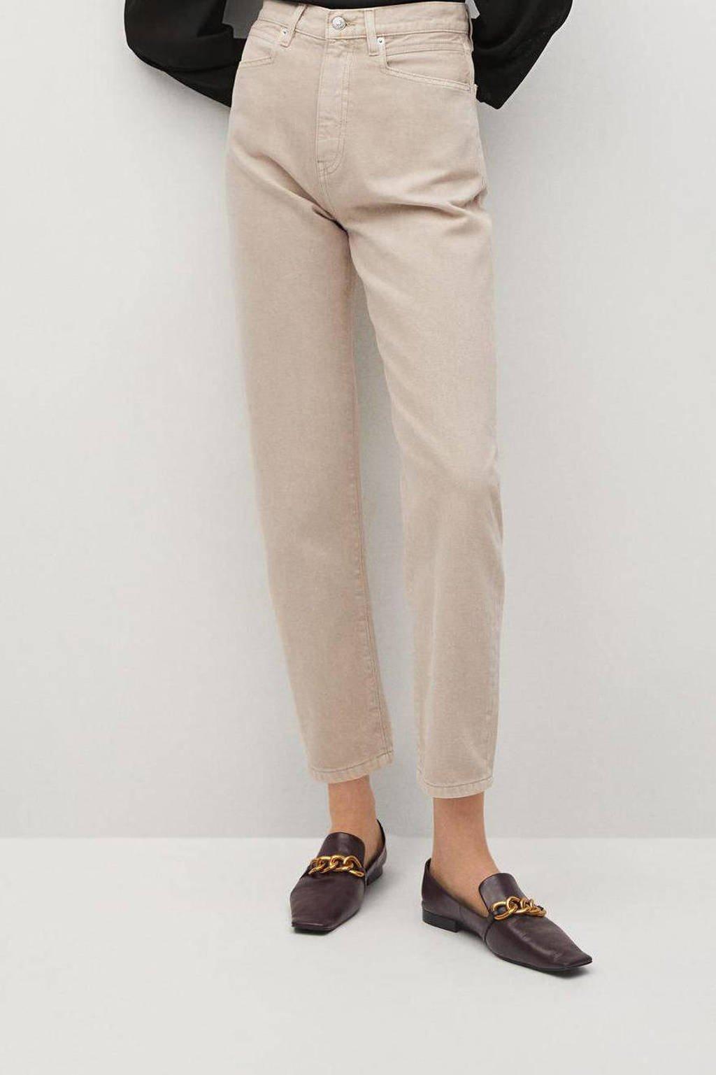 Mango cropped high waist mom jeans beige, Beige