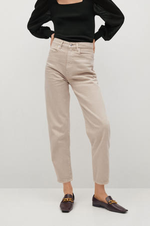 cropped high waist mom jeans beige