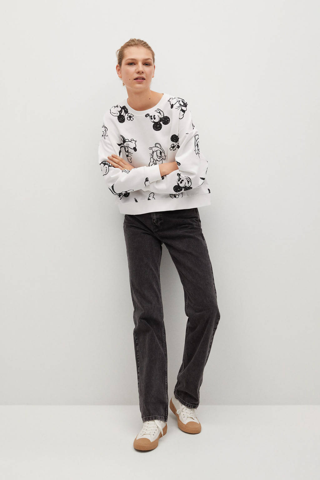 Mango sweater met all over print wit, Wit