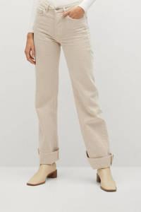 Mango high waist straight fit jeans beige, Beige