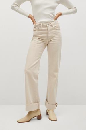 high waist straight fit jeans beige