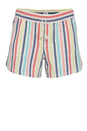 gestreepte regular fit short rood/roze/geel/blauw/wit