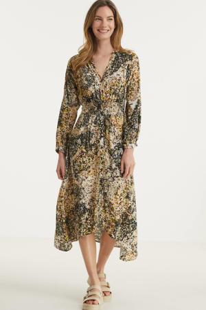 jurk met all over print beige/multi