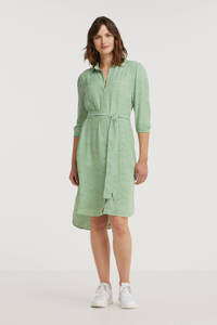 Anna blousejurk met all over print en ceintuur groen, Groen