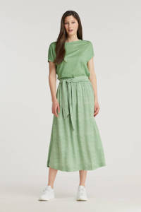 Anna van Toor midi rok met all over print en ceintuur groen, Groen