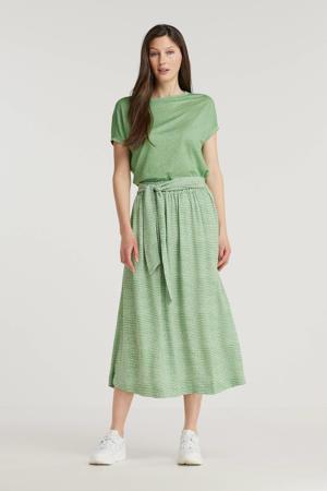 midi rok met all over print en ceintuur groen