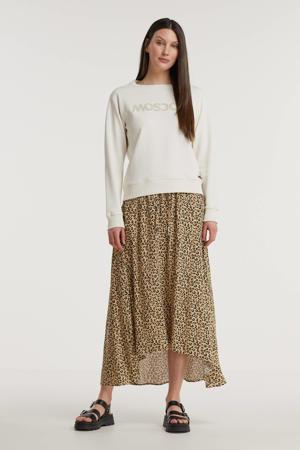 midi rok met all over print beige/zwart