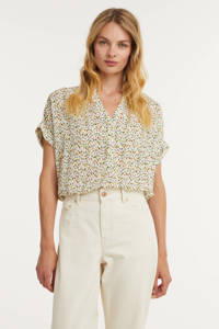 Anna blouse met all over print ecru, Ecru