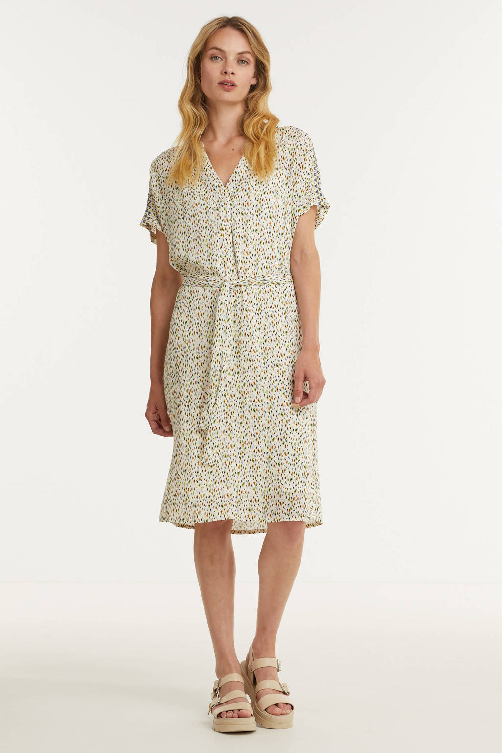 Anna jurk met all over print en ceintuur ecru, Ecru