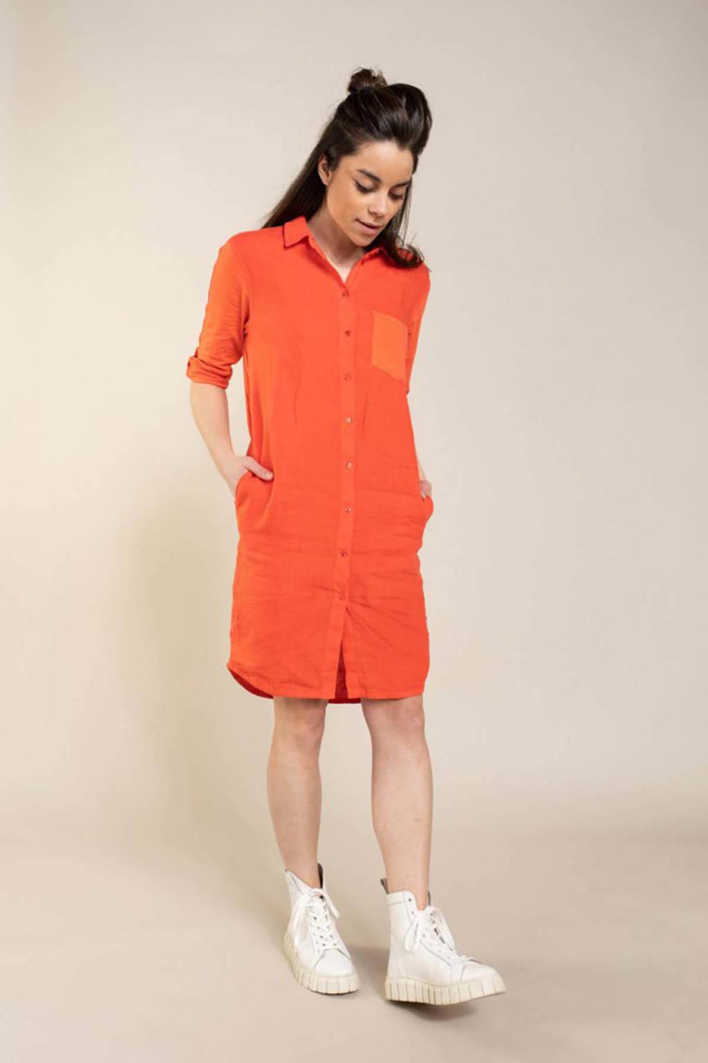 Anna blousejurk rood/oranje, Rood/oranje
