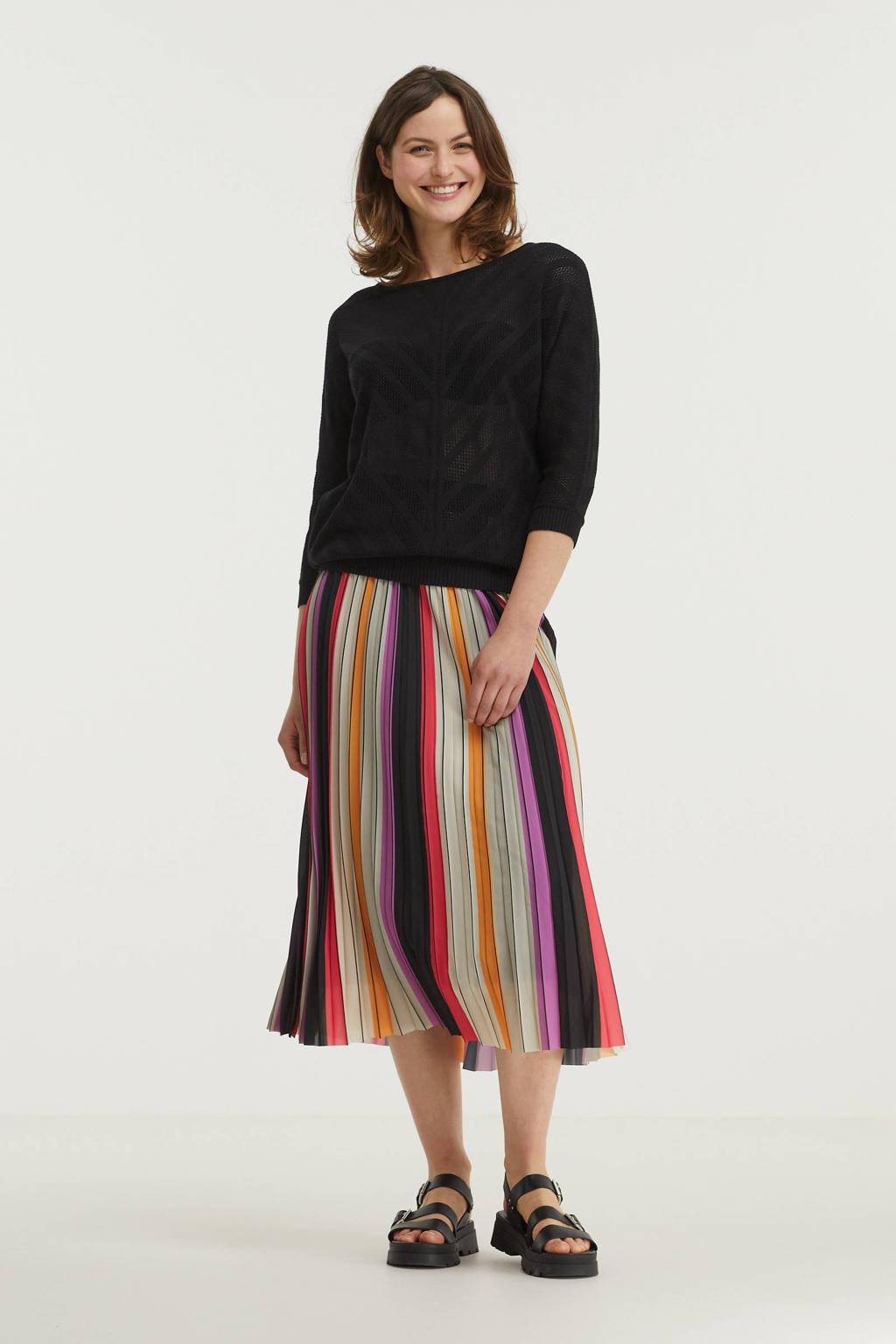 Anna van Toor gestreepte rok zwart/ paars/ rood/ oker/ groen, Zwart/ paars/ rood/ oker/ groen