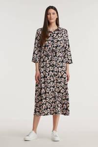 PIECES blousejurk met all over print en ceintuur zwart/roze, Zwart/roze