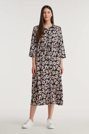 blousejurk met all over print en ceintuur zwart/roze