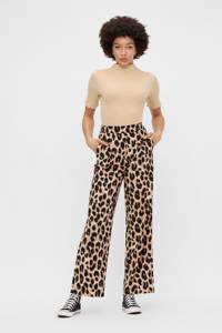 PIECES high waist loose fit broek met dierenprint zwart/beige, Zwart/beige