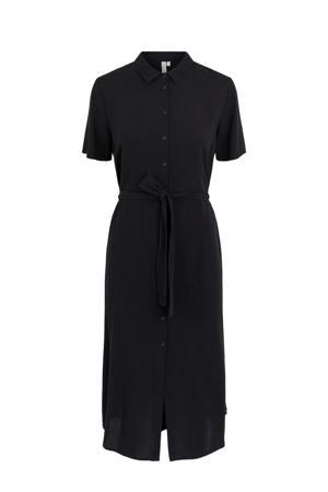 blousejurk PCCECILIE SS LONG DRESS NOOS BC met ceintuur zwart