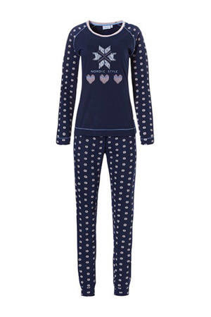 pyjama met printopdruk donkerblauw