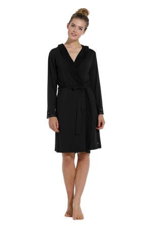 jersey badjas met capuchon zwart