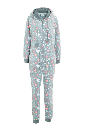 fleece onesie met capuchon en all over print grijs